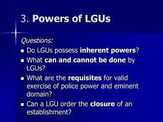3.  Powers of LGUs