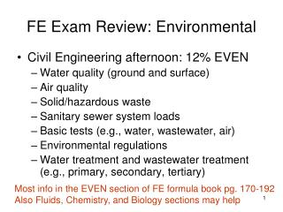 FE Exam Review: Environmental