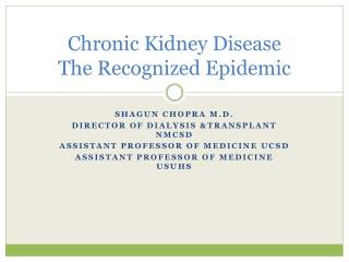 Chronic Kidney Disease The Recognized Epidemic