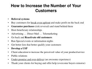 How to Increase the Number of Your Customers