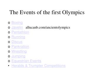 The Events of the first Olympics