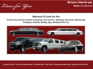 Toronto Limo Service, Toronto Limousines, Limo Service - Mon