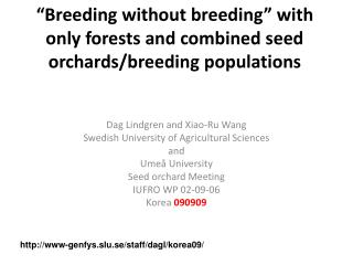 """Breeding without breeding"" with only forests and combined seed orchards/breeding populations"