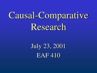 Causal-Comparative Research