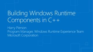 Building  Windows Runtime Components in C++