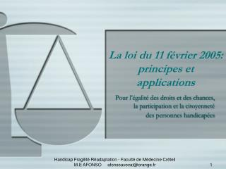 La loi du 11 f vrier 2005:  principes et applications