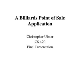 A Billiards Point of Sale Application