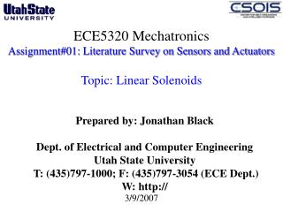 ECE5320 Mechatronics Assignment#01: Literature Survey on Sensors and Actuators  Topic: Linear Solenoids