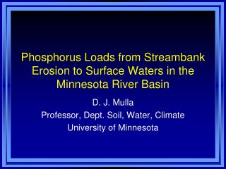 Phosphorus Loads from Streambank Erosion to Surface Waters in the Minnesota River Basin
