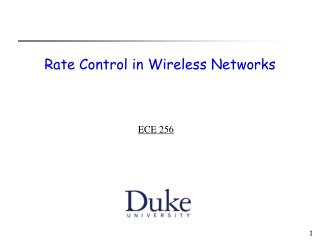 Rate Control in Wireless Networks
