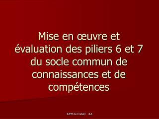 Mise en œuvre et évaluation des piliers 6 et 7 du socle commun de connaissances et de compétences