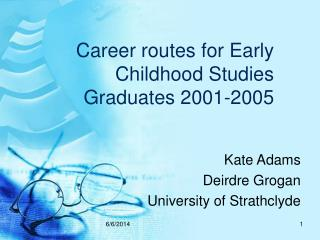 Career routes for Early Childhood Studies Graduates 2001-2005