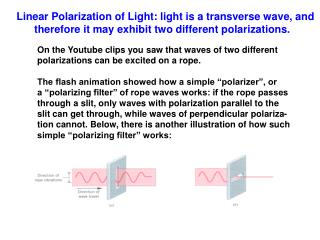 Linear Polarization of Light: light is a transverse wave, and       therefore it may exhibit two different polarizations