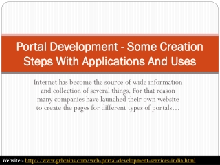 Portal Development - Some Creation Steps With Applications A