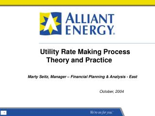 Utility Rate Making Process Theory and Practice