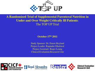 A Randomized Trial of Supplemental Parenteral Nutrition in  Under and Over Weight Critically Ill Patients :  The TOP UP