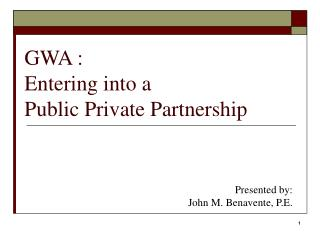GWA : Entering into a  Public Private Partnership