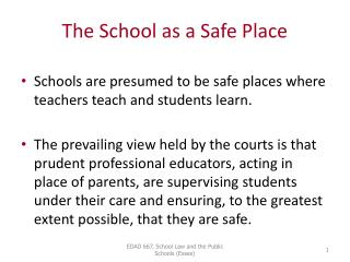 The School as a Safe Place