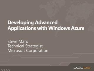 Developing Advanced Applications with Windows Azure