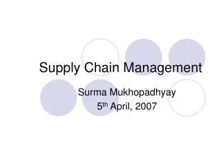 Supply Chain Management