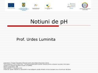 Notiuni de  pH