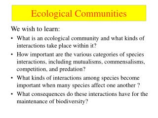 Ecological Communities