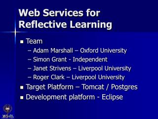Web Services for Reflective Learning