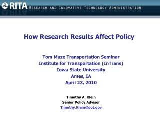 How Research Results Affect Policy