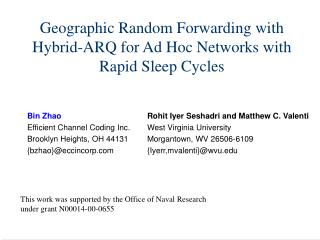 Geographic Random Forwarding with Hybrid-ARQ for Ad Hoc Networks with Rapid Sleep Cycles