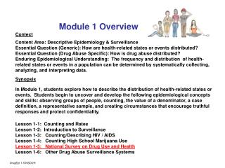 Module 1 Overview Context Content Area: Descriptive Epidemiology & Surveillance
