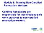 Module 8: Training Non-Certified Renovation Workers