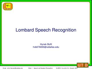 Lombard Speech Recognition
