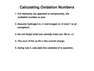 Calculating Oxidation Numbers