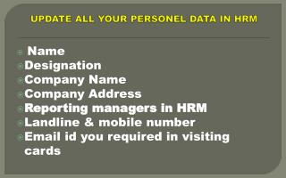 UPDATE ALL YOUR PERSONEL DATA IN HRM