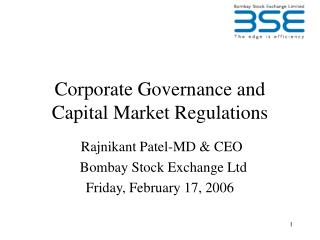 Corporate Governance and Capital Market Regulations