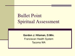 Bullet Point  Spiritual Assessment
