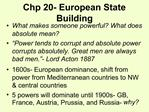 Chp 20- European State Building