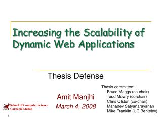 Increasing the Scalability of Dynamic Web Applications