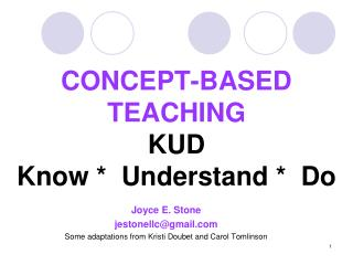 CONCEPT-BASED TEACHING KUD Know *  Understand *  Do