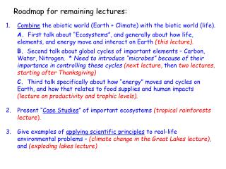 Roadmap for remaining lectures:
