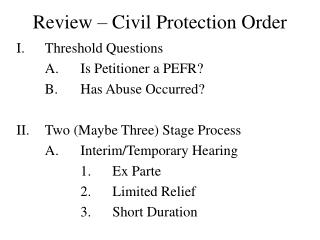 Review – Civil Protection Order