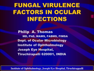 FUNGAL VIRULENCE FACTORS IN OCULAR INFECTIONS