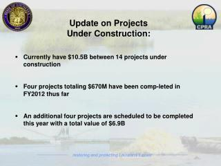 Update on Projects Under Construction : Currently have $10.5B between 14 projects under construction