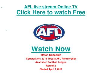 Gold Coast vs Carlton live Streaming Toyota AFL Premiership
