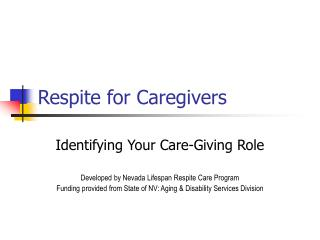 Respite for Caregivers