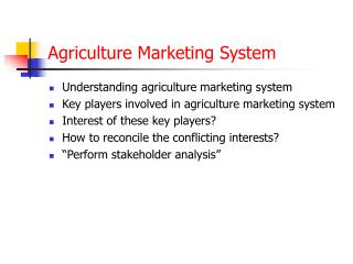 Agriculture Marketing System