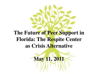 The Future of Peer Support in Florida: The Respite Center  as Crisis Alternative   May 11, 2011