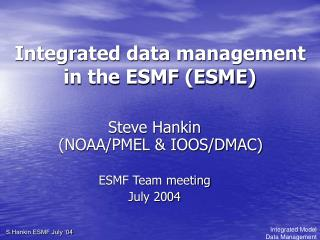 Integrated data management in the ESMF (ESME)