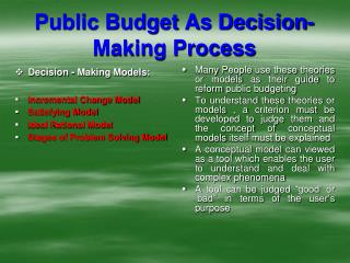 Public Budget As Decision-Making Process