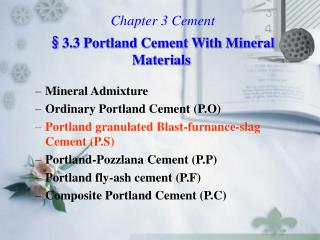 Chapter 3 Cement